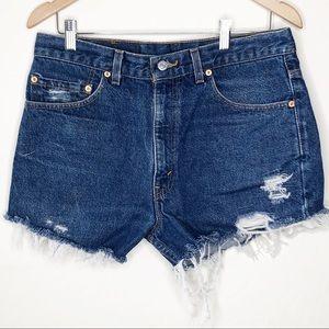 Levi's 517 Vintage Distressed Denim Cutoff Shorts